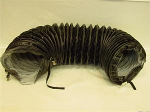 "47104A Frost Fighter 16"" X 25' High Temperature Black PVC Flexible Coiled Hose Duct with belt Cuff"