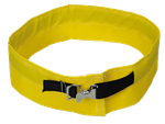 "Belt cuffs are fabricated using 1"" (25 mm) polyester webbing and finished with nickel-plated buckles."