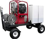 Hot2Go Hydro Tex Tow & Stow™ TSKDT / T185TWH / SK30005VH Hot Pressure Washer and Reels 3000 PSI, 5 GPM, 479cc Vanguard engine.