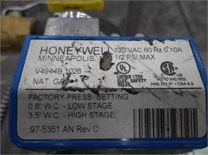 80272A Frost Fighter HONEYWELL 2 STAGE VALVE V4944B1026